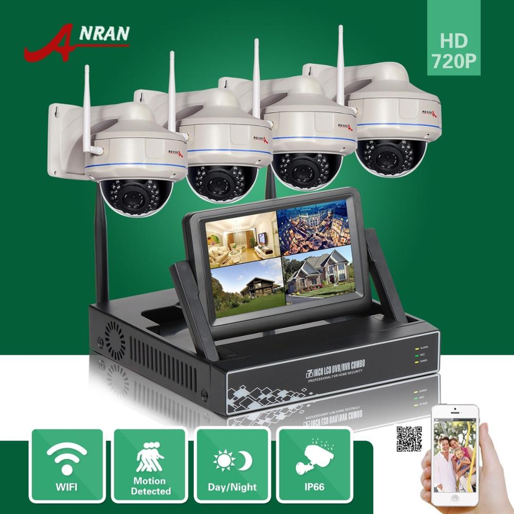 ANRAN 4CH HD 720P HD WIFI NVR 7'LCD Monitor 1.0 Megapixel Outdoor Security Wireless IP Camera Video Surveillance System For Home 10 lcd monitor wireless nvr with 4pcs 720p wireless camera make up wireless surveillance system easy instal and easy use