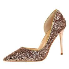 LISM 2018 Spring Sexy Nightclub Womens Shoes High Heel Shallow Tip Hollow Sequins 8cm European Style