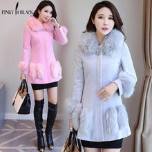 Pinky Is Black New 2017 Winter Collection Woolen Coat Women Fashion Fur Collar Long Womens Wool Blended Jacket Female Hot Sale
