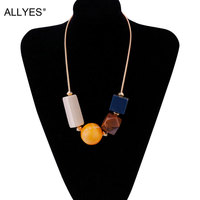 Fashion Acylic Bead Big Statement Necklace Jewelry Women 2017 Female Office Lady Hyperbole Gold Color Chain Necklaces & Pendants