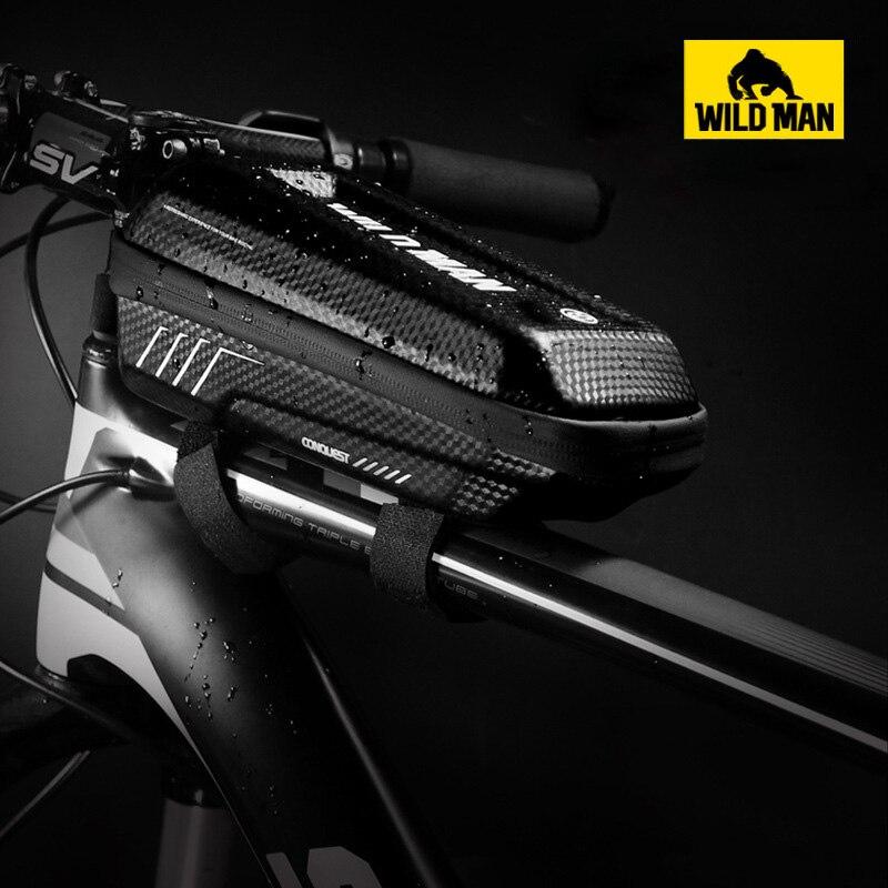 WILD MAN MTB Road Bike Front Top Tube Frame Bag Waterproof EVA Hard Shell Bag