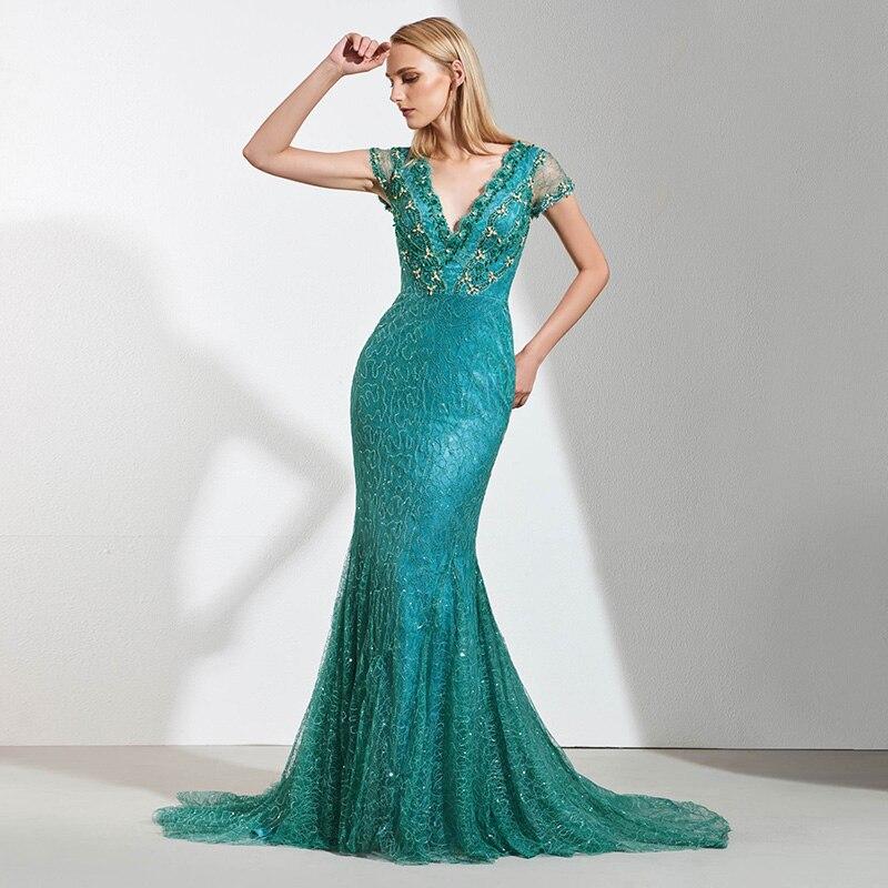 e9e1f06928cd8a4 Tanpell кружевное вечернее платье с v-образным Вырезом cap рукава империи  Длина до пола русалка