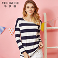 Veri Gude 2017 Women's  Spring Summer O-neck Tees Striped  Color Casual T-shirt New Arrival Girl Hot Sale Cute