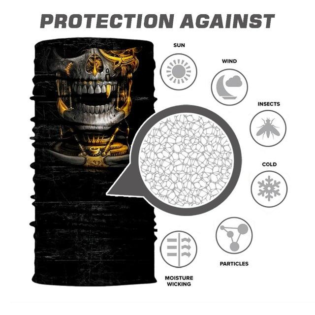 BJMOTO UV Protection Head Scarf Neck Motorcycle Cycling Ghost Skull Face Mask Ski Balaclava Headband Face Shield Bandana 2