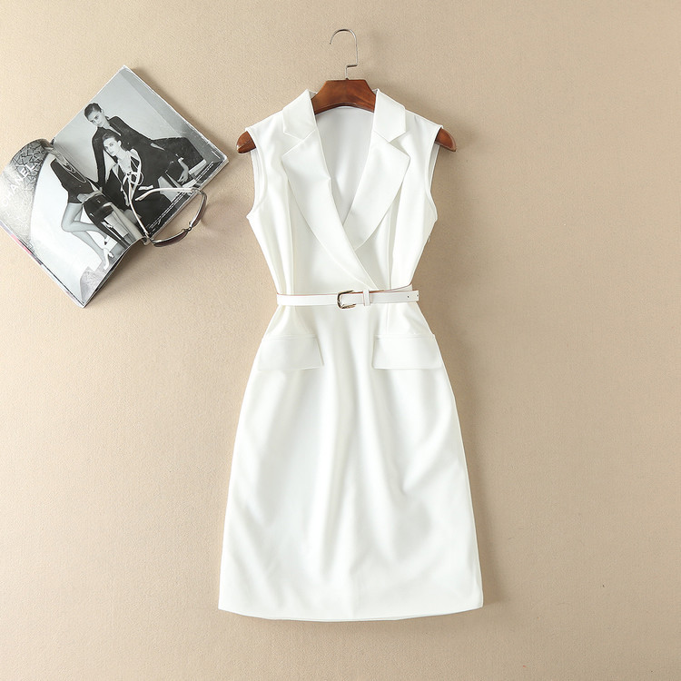 European and American women's fashion 2019 spring new style Sleeveless suit collar Fashion belts Slim white dress