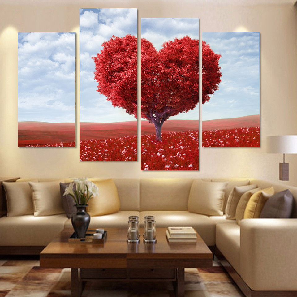 Deco Rose Fushia Salon us $8.48 39% off|modern 4 piece red giving tree wall art decor mural  painting the living room oil paintings in print pictures on canvas no  frame|oil