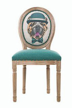 Dog series European Modern Antique  Style Design Oak Wooden Retro Hotel Cafe Leather Dining Chair Solid Wood Furniture
