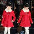Детская Одежда Девушки Новый Корейский Ткань Ребенок Расстроен Двубортные Пальто Детей Clothing Красный Розовый