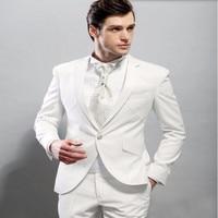 Knappe mannen suits nieuwe Stijl Wit Bruidegom suits Tuxedos Beste Man Pak Slim Fit groomsman Prom smoking (jas + broek)