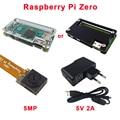 Raspberry Pi Zero Kit Acrylic Case + Raspberry Pi Zero Camera 5MP + 5V 2A Power Plug EU US UK AU + Switch USB Cable for RPI Zero