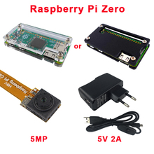 Малина Pi zero комплект Акриловый чехол + Raspberry Pi zero Камера 5MP + 5 В 2A Мощность ЕС Plug США Великобритания AU + переключатель USB кабель для RPI Zero