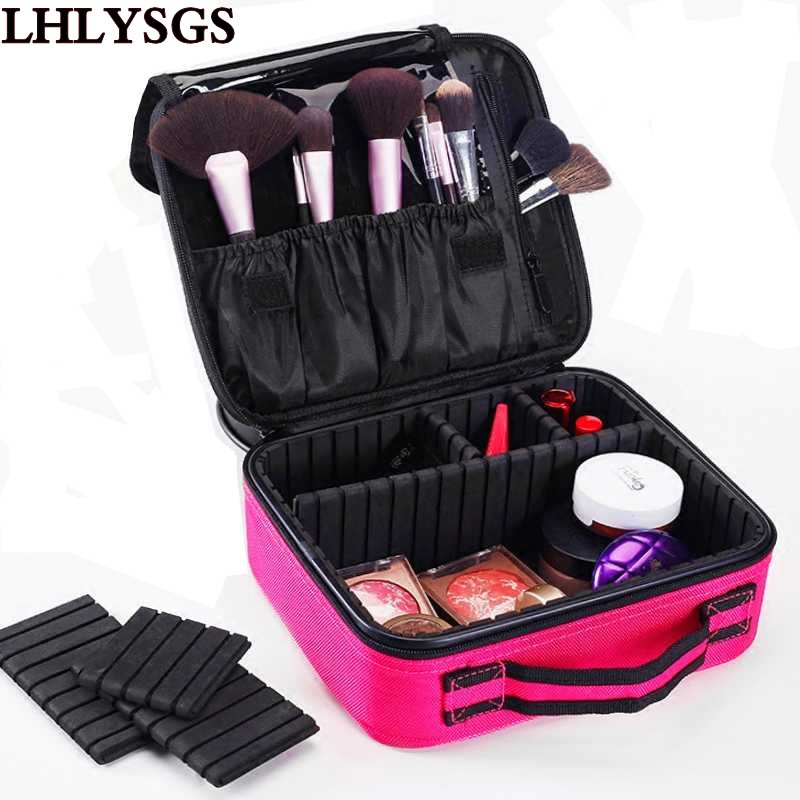 LHLYSGS Brand Cosmetic Box Bag Women Professional Makeup Bag Travel Carry Waterproof Storage Toiletry Organizer Cosmetic Case 2017 cosmetic bag quilted professional makeup organizer femal large capacity storage handbag travel toiletry beige cosmetic box