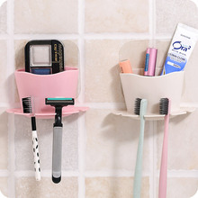ФОТО Practical  Cute Toothbrush Sucker Holder Suction Hooks Cup Organizer Toothbrush Rack Bathroom Kitchen Storage Set Shelf 65598
