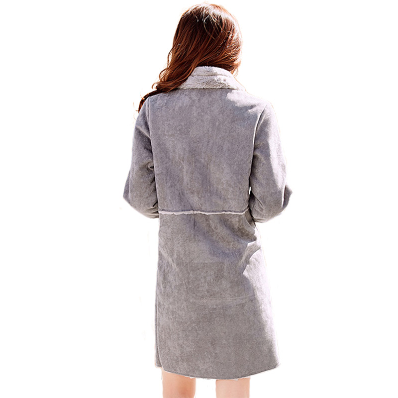 2018 Boodinerinle lotus Femmes W001 Casual Color Manteaux Chameau Fourrure Suède Long Cuero De Mujer Gray Veste Boutonnage À Manteau En Xxl S Abrigos Double D'hiver rddfg