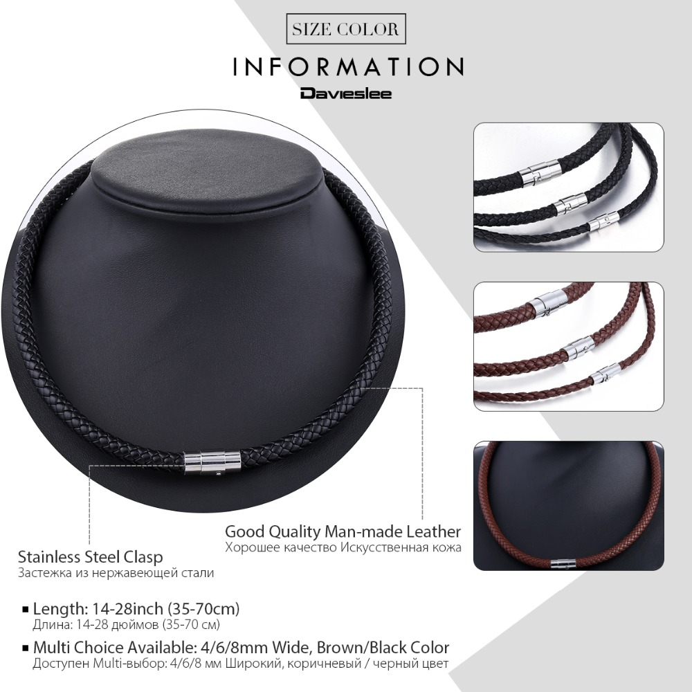 Mens Leather Necklace Choker Black Brown Rope Choker Necklaces for Men Women Davieslee Wholesale Jewelry 4/6/8mm DLUNM09 Karachi