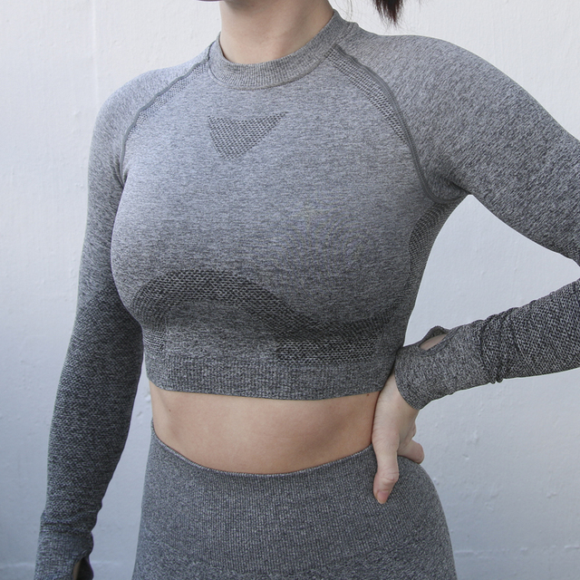 5e402f83bbc5e Nepoagym Women Ombre Cropped Seamless Long Sleeve Top Crop Top Women  Workout Shirts for Women Sports Tops Gym Women