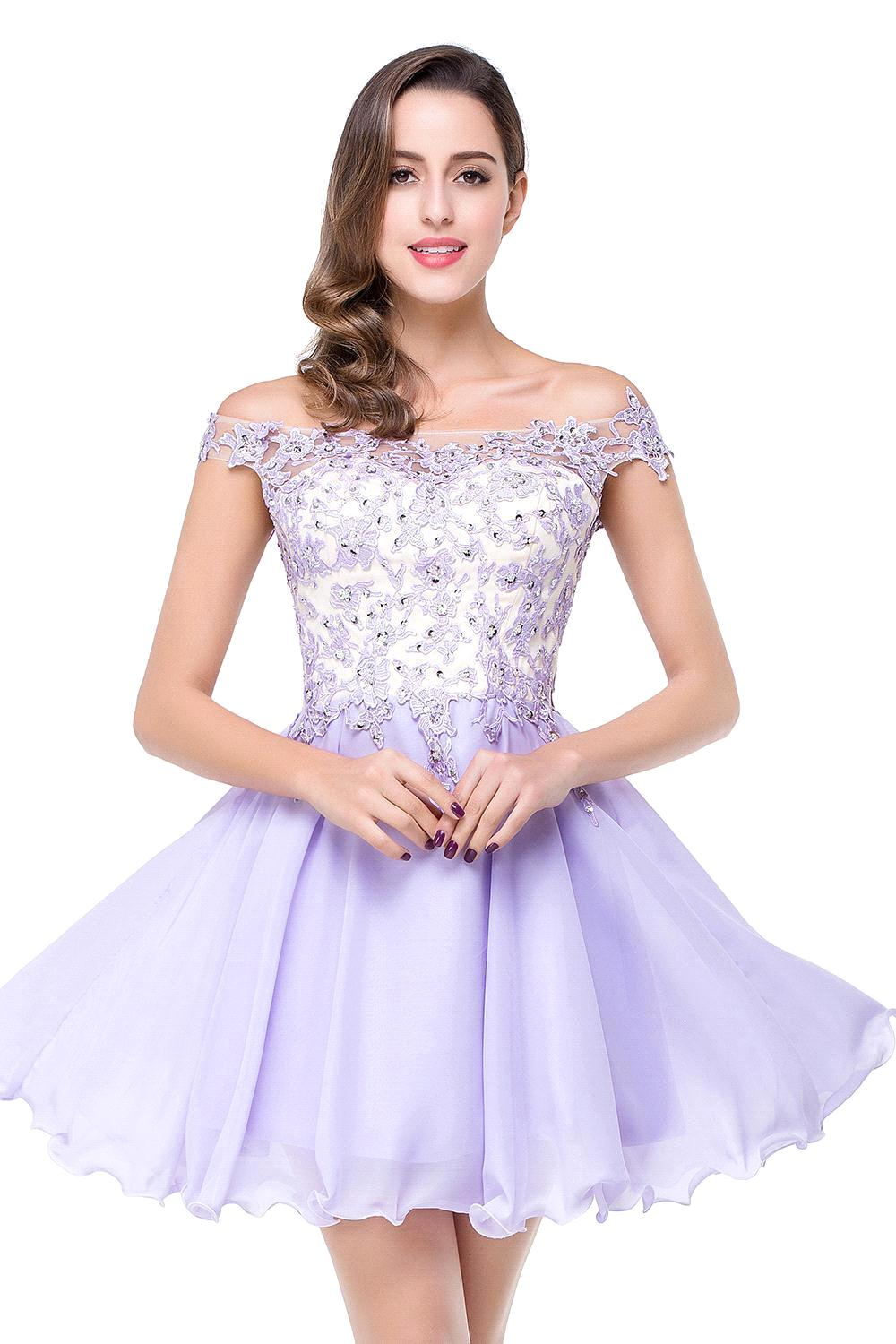 Aliexpress.com : Buy Real Picture Lavender Lace Short Prom Dresses ...