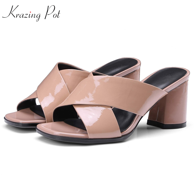 krazing pot genuine leather patent leather superstar peep toe mature women large size mules sweety square high heels sandals L16 krazing pot genuine leather sheep skin thick high heels square toe zipper boots women superstar party western mid calf boots l17