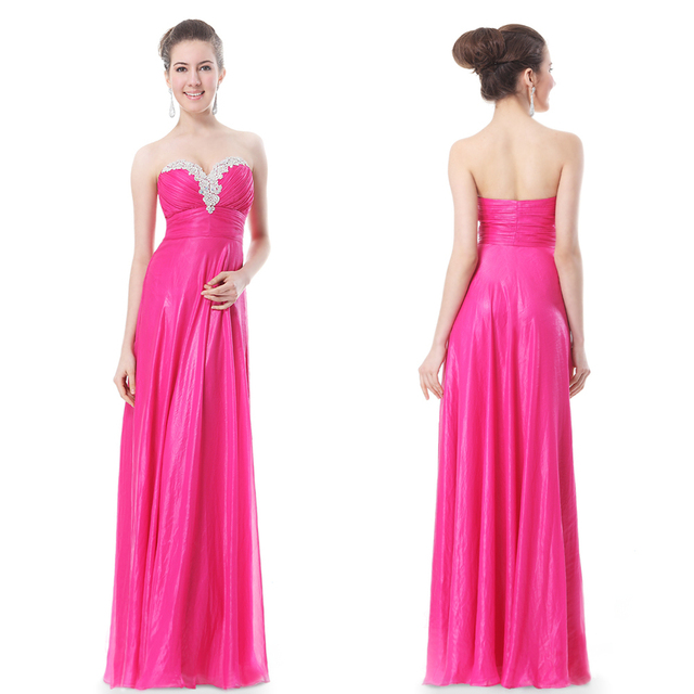 4d61cd637d Free Shipping Hot Pink Ruched Crystalline Strapless Evening Gown slim high  waist long formal dress dinner service HE09915HP