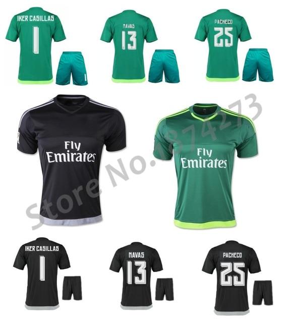4de2e8463 Free Shipping 15 16 Goalkeeper soccer jersey kits Iker Casillas NAVAS  PACHECO football shirt Ronaldo Black Green uniforms set