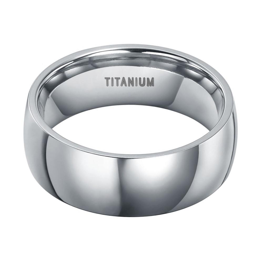 8mm Qollu Dizayn Kişi Klassik Gümüş Titan Ring Yüksək Cilalı - Moda zərgərlik - Fotoqrafiya 3