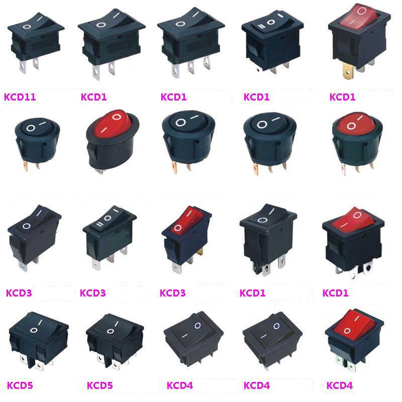10Pcs Rocker Switch Round Boat 2 Pin 2 Position KCD1 6A250VAC,10A125VAC