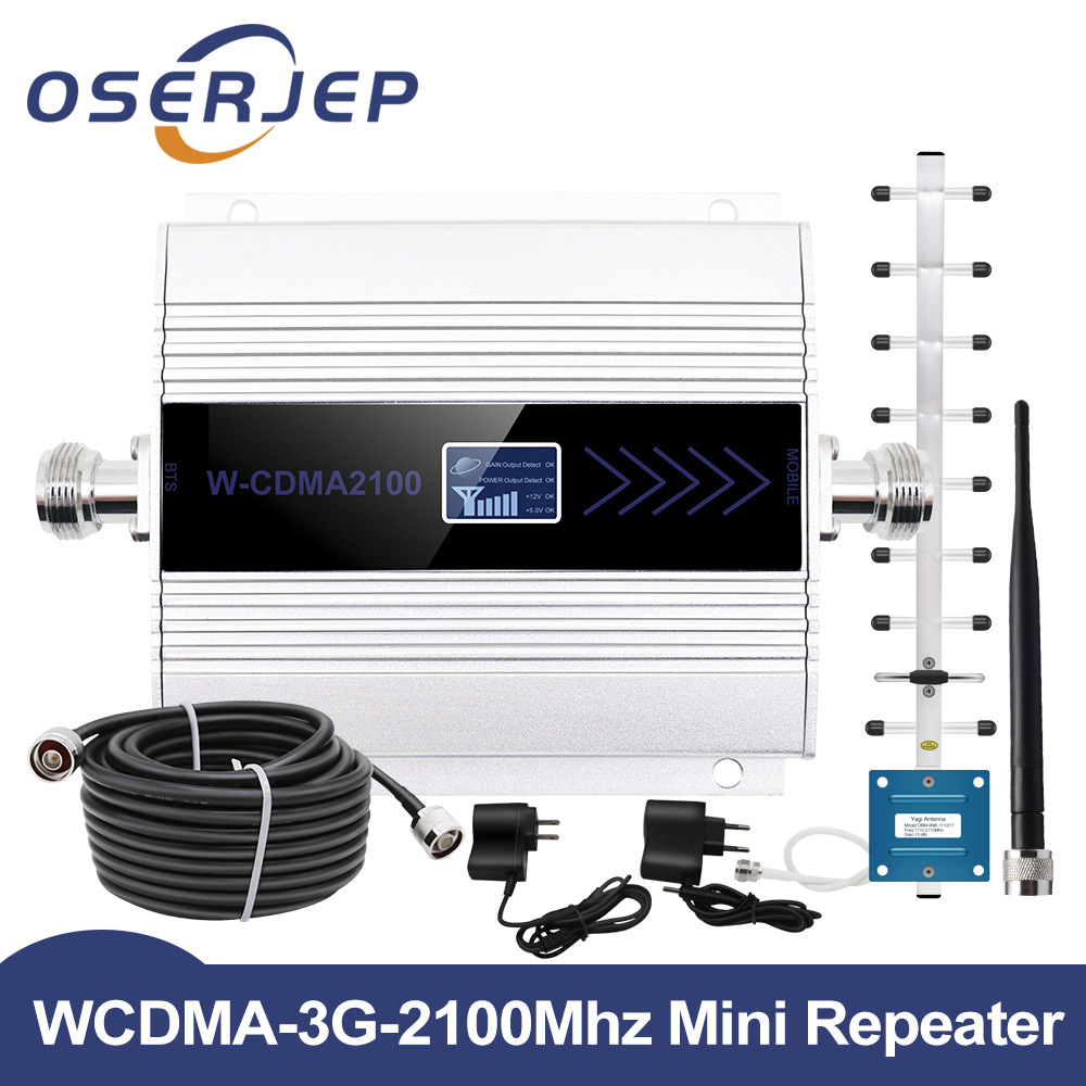 Fullset 3G Repeater 2100MHz WCDMA UMTS LCD Repeater Cell Phone Mobile Signal Amplifier Booster Yagi Whip