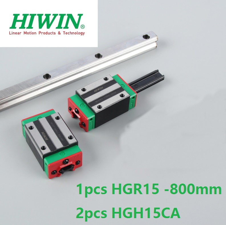 1pcs 100% original Hiwin linear guide rail HGR15 -L 800mm +2pcs HGH15CA square narrow block for cnc router цена