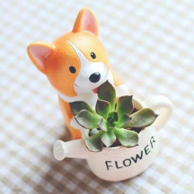Image 4 - CAMMITEVER Corgi Dog Planter Garden Plant Container Miniature Ornament Potted Flower Craft Microlandschaft Succulent Cactus Herb-in Figurines & Miniatures from Home & Garden