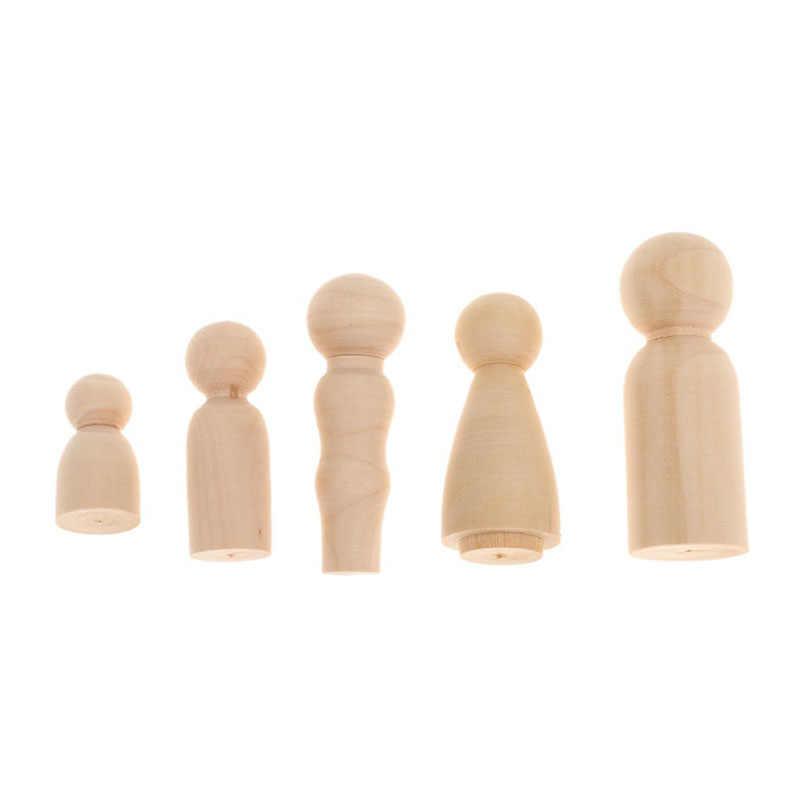 רוסית קינון בובת 5 יח'\סט משפחה דגם עץ ריק לא צבוע DIY מלאכת ילדי צעצועים חינוכיים