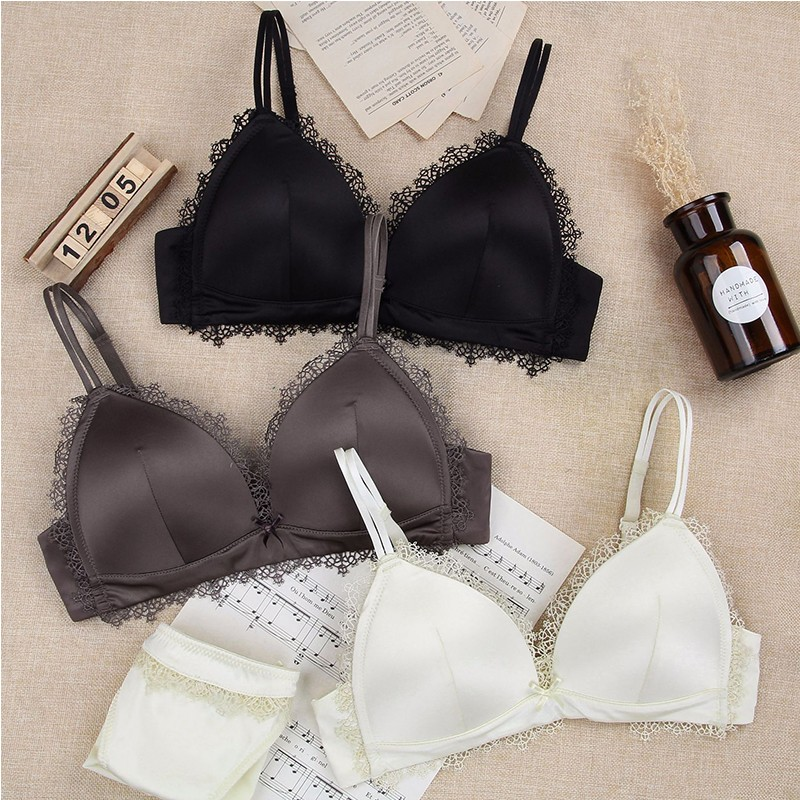 Detail Feedback Questions about BEFORW Seamless Milk Silk Bra Set  Embroidery Wireless Thin Bralette Panties Set Breathable Sexy Lingerie Set  Solid Bra Brief ... 4849785e2