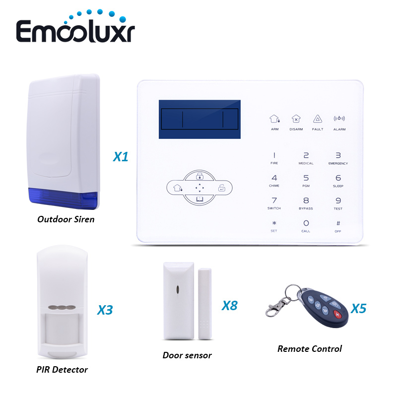 French Voice GSM PSTN Alarm System ST IIIB with Pet Friendly PIR Inrared Sensor and Outdoor Waterproof Strobe Siren