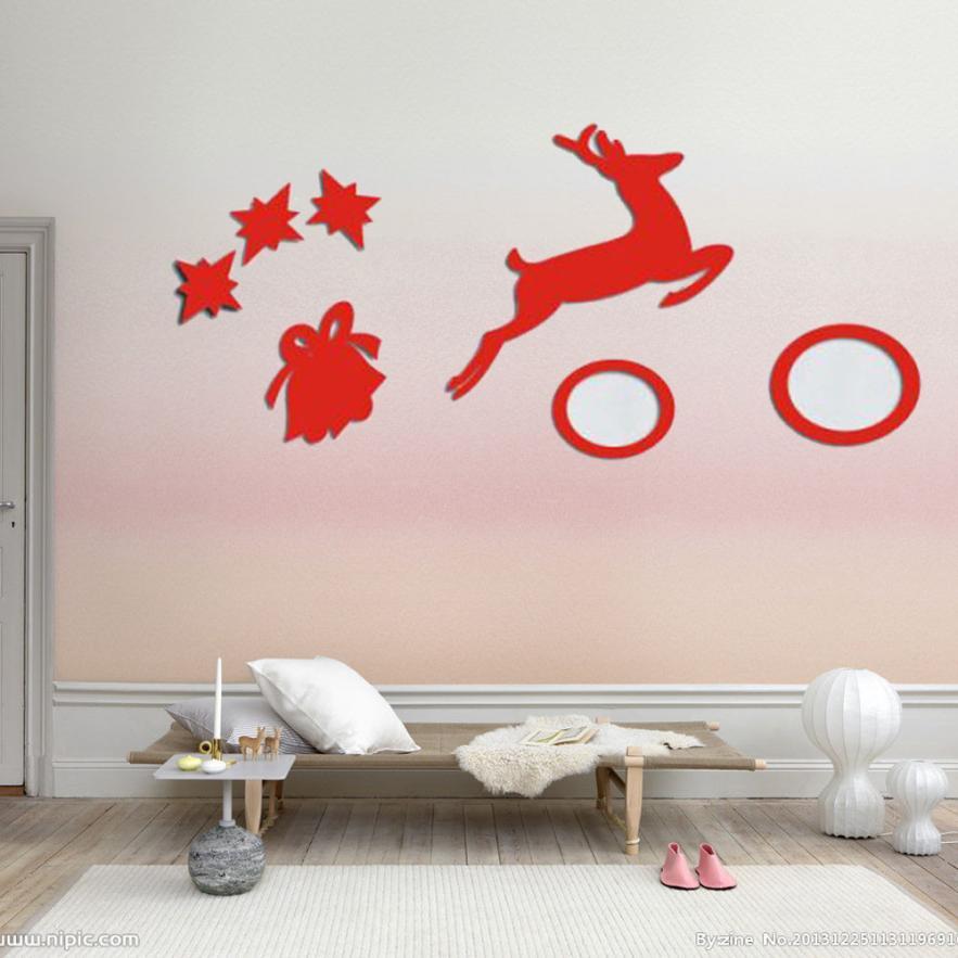 la etiqueta de la pared para la sala de estar dormitorio decoracin espejos campanas de renos de navidad pegatinas de pared desm