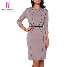 Ofis Elbise Kadın Ince Modern Tasarım Sonbahar O Boyun Kış Yarık Diz Boyu  Bayanlar Elbise Bubblekiss cf62fbba2817