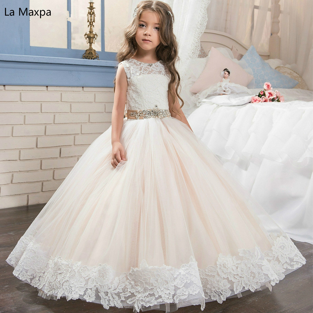New All Lace Sleeveless Dress Birthday Party Performance Clothing Children Dance Performance Bowknot Wedding Dress sleeveless lace spliced bodycon mini dress