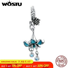 WOSTU Luxury 925 Sterling Silver Blue Flower Orchid Beads Charm Fit Original Bracelet Pendant For Women Jewelry Making CTC034(China)