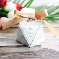 "50Pcs Marble Diamond Style Wedding Favors Candy Boxes ""Thanks"" Party Gift Box Giveaways Box Bomboniera Return Present Box"