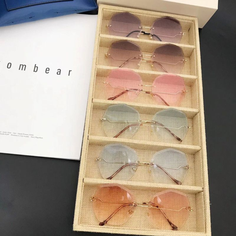2019 New Fashion Women Trend Sunglasses Polygon Irregular Frameless Street Photography Glasses Lady Casual Eyewear Protector