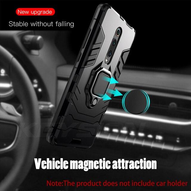 KEYSION Shockproof Armor Case For Redmi K20 K20 Pro Note 7 7a 6 8 Pro Stand Holder Car Ring Phone Cover for Xiaomi Mi 9T Pro Mi9 se CC9e Mi 8 lite A2 A3