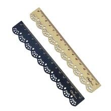 2 Pcs Beautiful Stylish Korea Stationery Lace Wood Ruler Sewing Office School Supplies