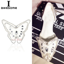 1pcs butterfly Bridal Wedding Party Shoes Accessories High Heels DIY Manual Pearl boots Shoe Decorations Flat flower