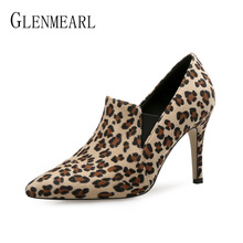 Ankle Boots For Women Shoes High Heels Autumn Boots Sexy Leopard Print Women Boots Pointed Toe Casual Shoes Slip-On Plus Size DE все цены