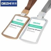 Купить с кэшбэком DEZHI Colorful Fashion Style Credit Card Badge Holder Metal Texture Bus ID Card Holders With Lanyard , LOGO Customize!