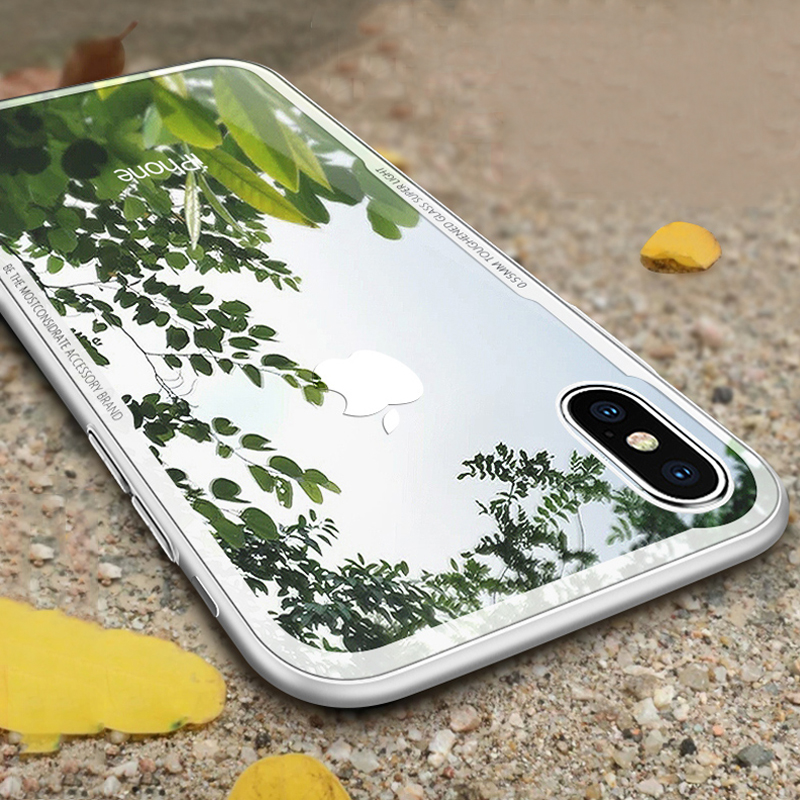 For iphone X Case Shockproof Armor Silicone Bumper Phone Cases For iphone 8 7 Plus Clear 9H Explosion-proof Tempered Glass Cover