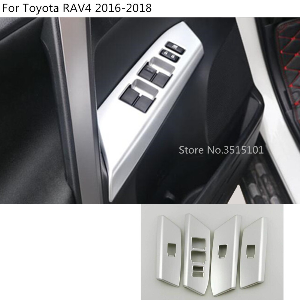 Automobiles & Motorcycles Top Quality Car Inner Door Window Glass Panel Armrest Lift Switch Button Trim Frame Hoods 4pcs For Toyota Rav4 2016 2017 2018 Aromatic Character And Agreeable Taste