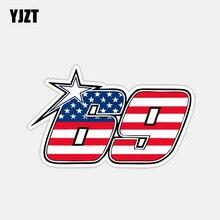 YJZT 14,5 см* 8,9 см персональная американская 69 номерная наклейка для мотоцикла 6-2839