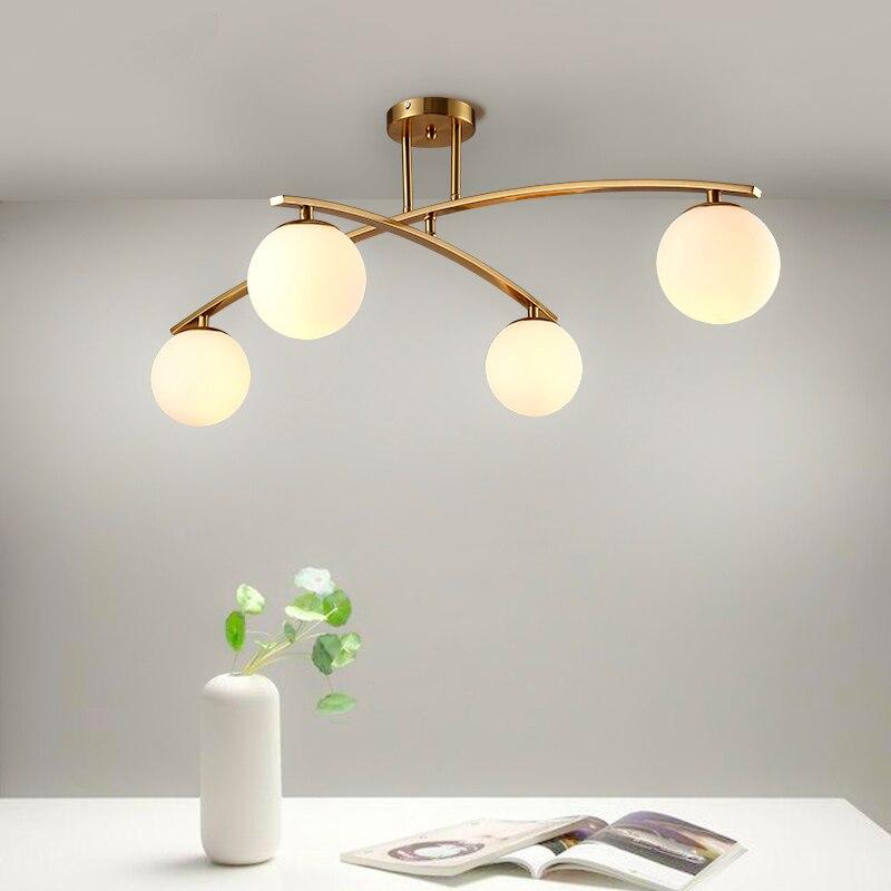 Светодио дный светодиодный пост-современный простой Nordic Гостиная свет ресторан лампы спальня потолочное освещение железные ремесла стекл...