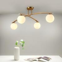 LED Post modern Simple Nordic Living Room Light Restaurant lamps Bedroom Ceiling lighting Iron Crafts Glass Ceiling Lights