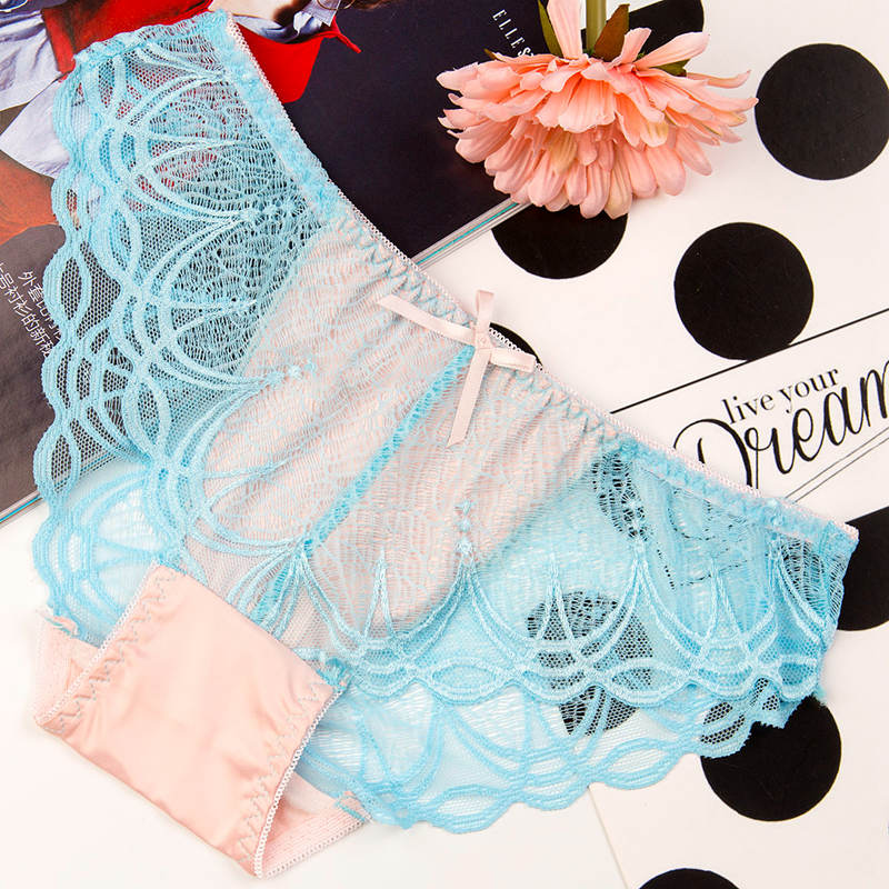 7Pcs/lot Sexy Lace Panties Womens Bow Underwear Briefs Sexy Ladies Lingerie Breathable Lace Panties Low Waist Cute Mesh Briefs