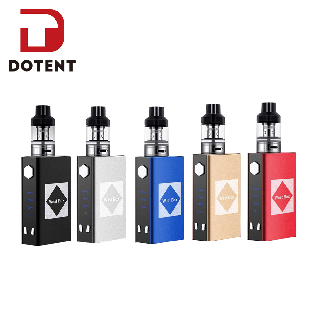 DOTENT WEST BOX Vape Kit 100W Electronic Cigarette Box Shape Metal Built In Battery 2200mah Electronic Mod Vaporizer Shisha Pen